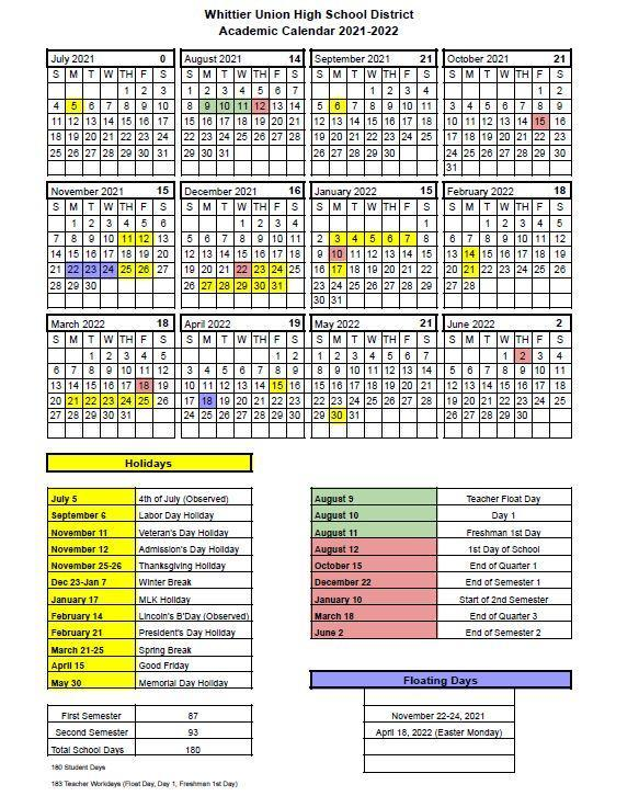 Academic Calendar 2021 - 2022