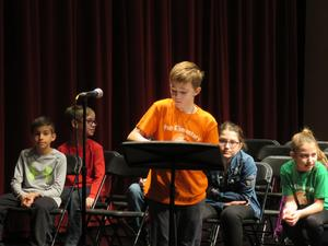 Camden Peter came in second place at the school-wide spelling bee.