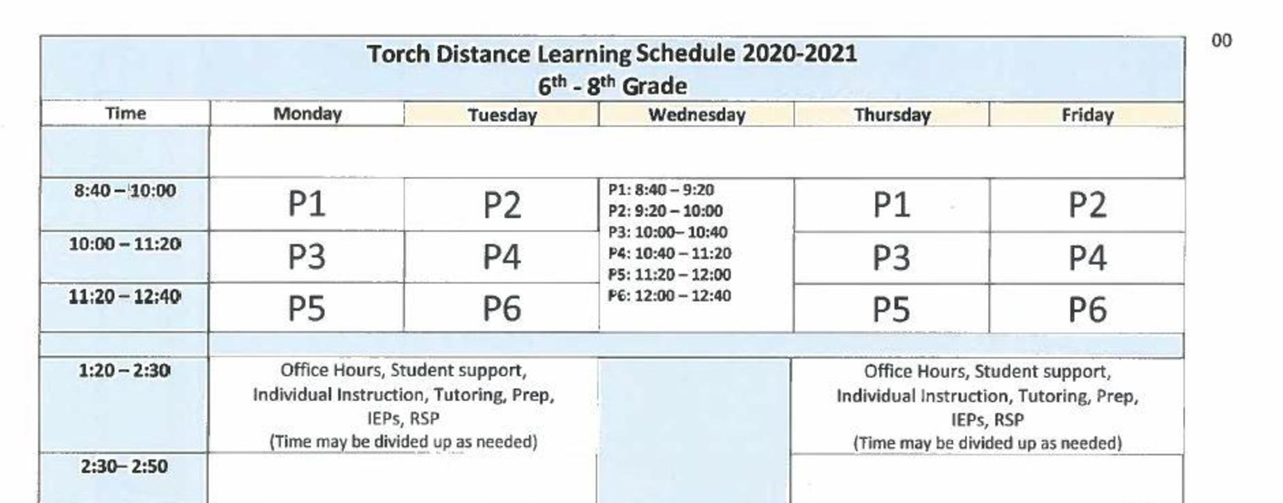 2020-2021 Distance Learning Schedule