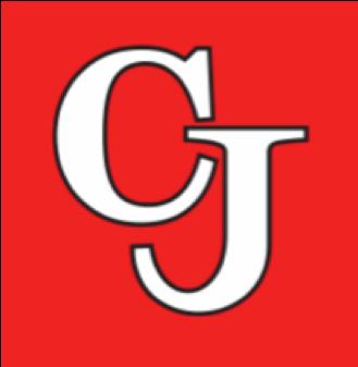 """CJ"" logo with red background"