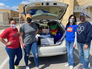 SES Teacher with supplies in trunk