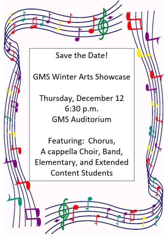 Flyer for the Governor Morehead School Winter Arts Showcase. Thursday, December 12 @ 6:30 PM. Located in GMS Lineberry Hall Auditorium. Featuring: Chorus, A cappella Choir, Band, Elementary, and Extended Content Students
