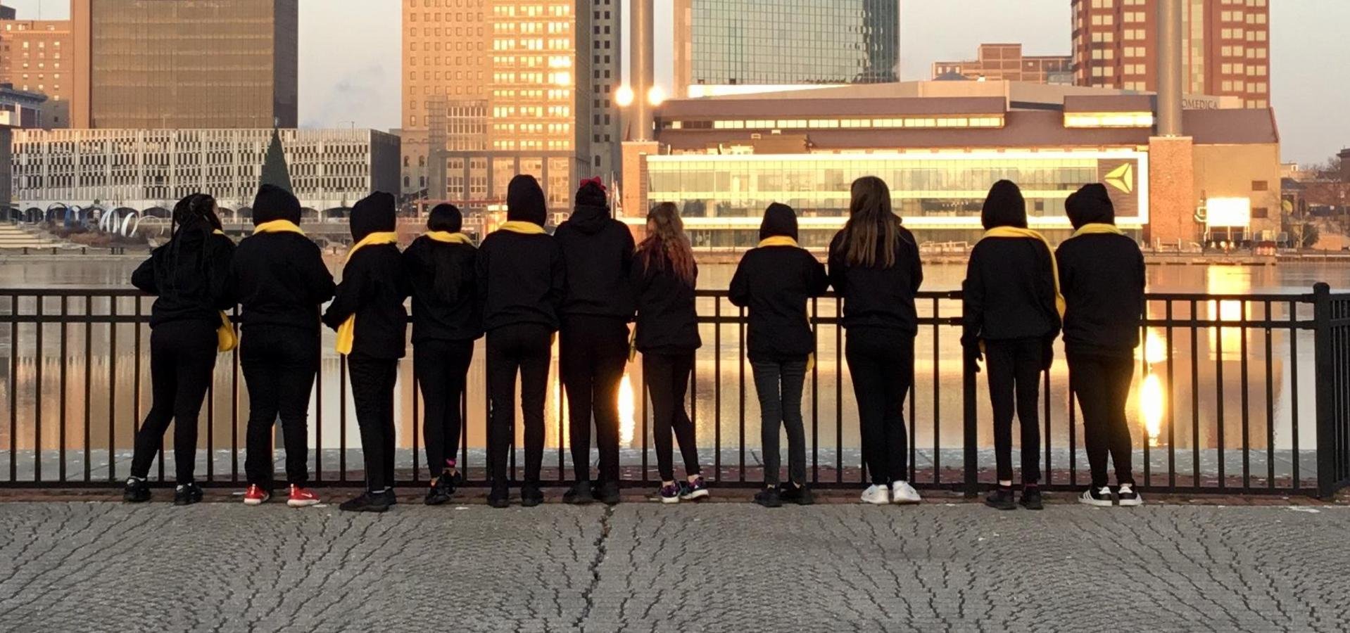 Picture of NSCW dancers looking the the river.