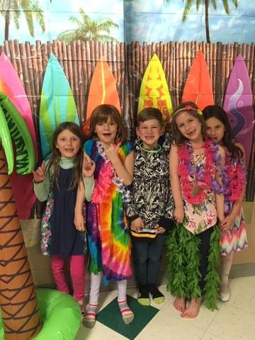 Students dressed for Luau party