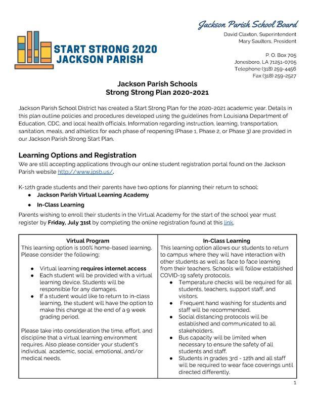 Updated 7/22/20: START STRONG 2020 Jackson Parish Thumbnail Image