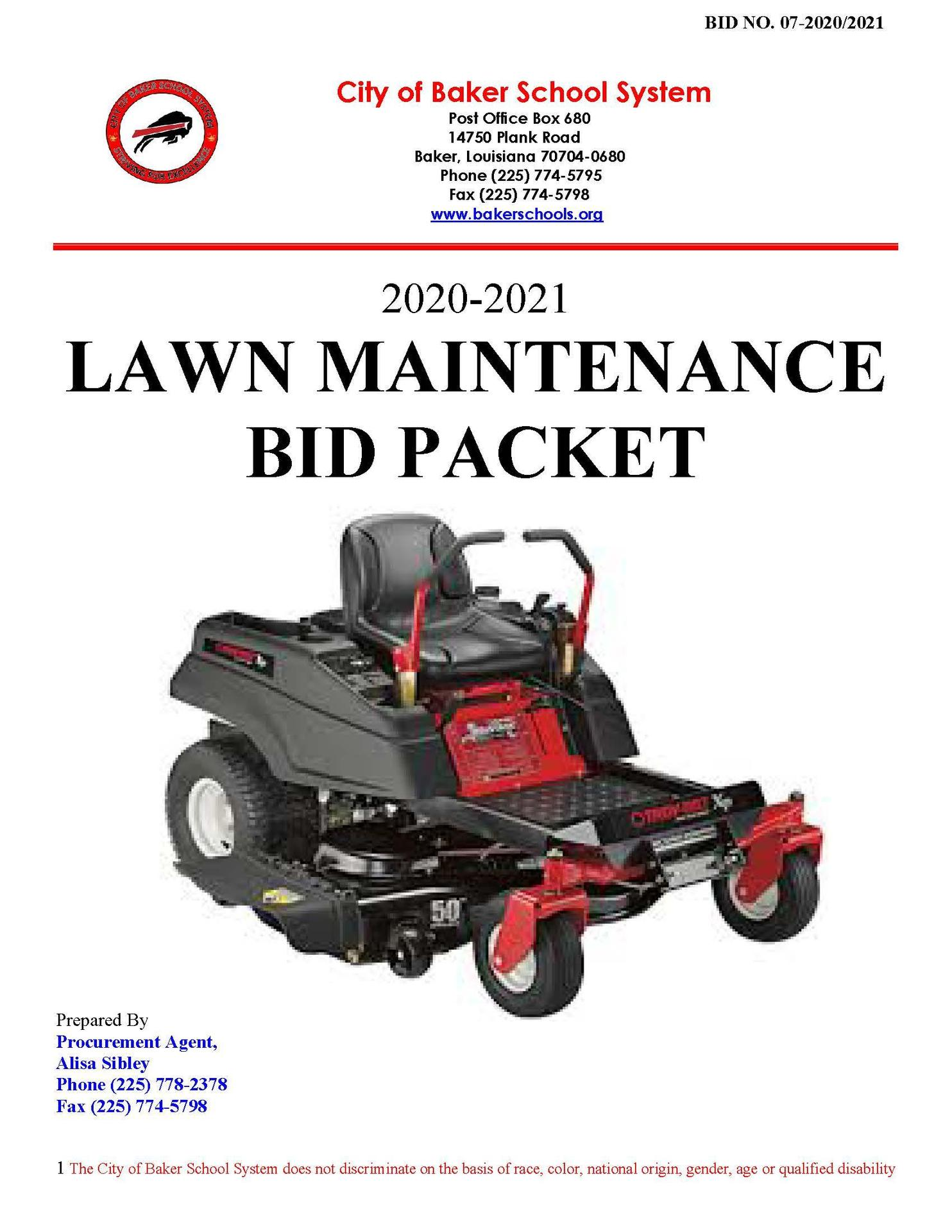 photo of cover sheet to the 2020-2021 Lawn Maintenance Bid Packet