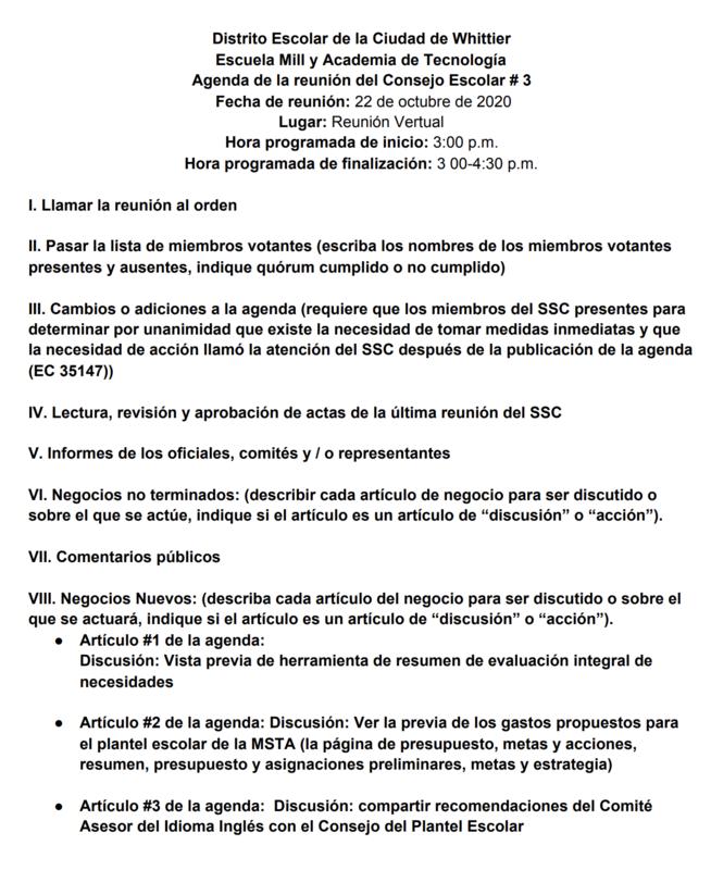 School Site Council Meeting Agenda Spanish