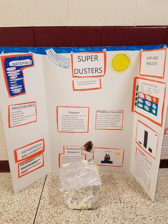 Science fair boards, project on super dusters