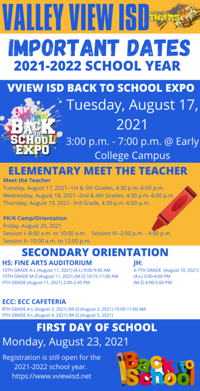 Valley View ISD Important Dates Flyer Thumbnail Image
