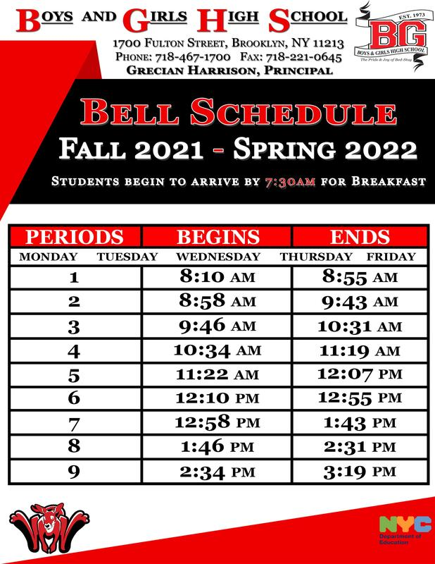 Boys and Girls High School Bell Schedule - Fall 2021 - Spring 2022