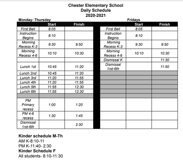 CES bell schedule