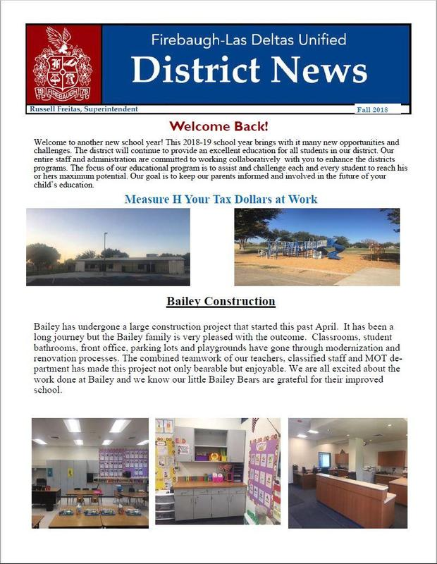 Front Page of 2018 Fall Newsletter.