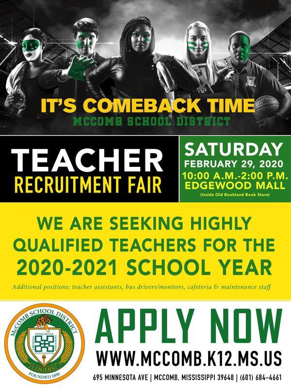 McComb School District Teacher Recruitment Fair 2020  #ItsComeBackTime