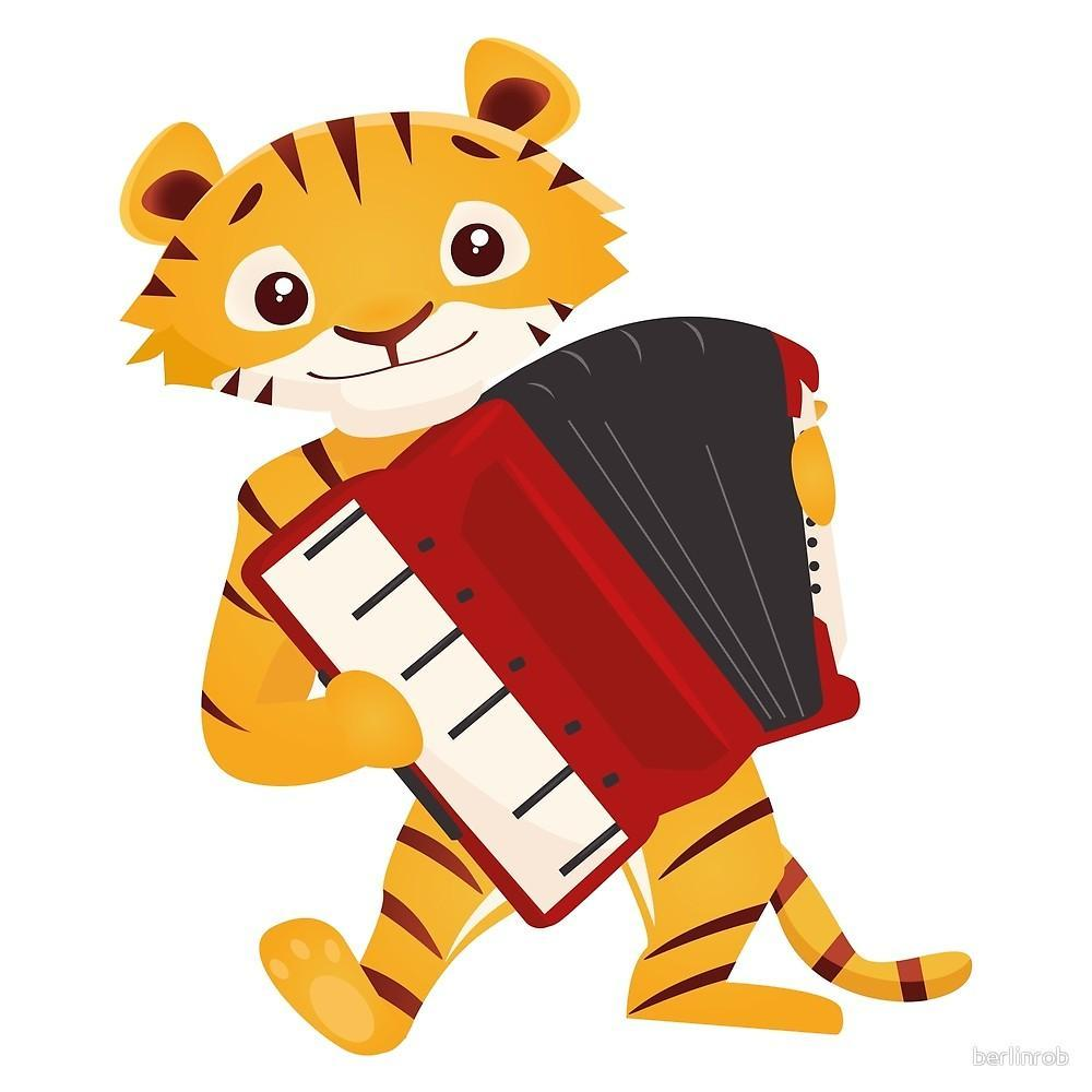 A tiger playing an accordion