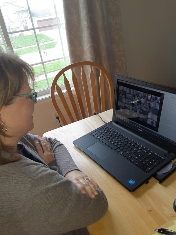 DSE 5th grade teacher Mrs. Senn watches the announcement at home.