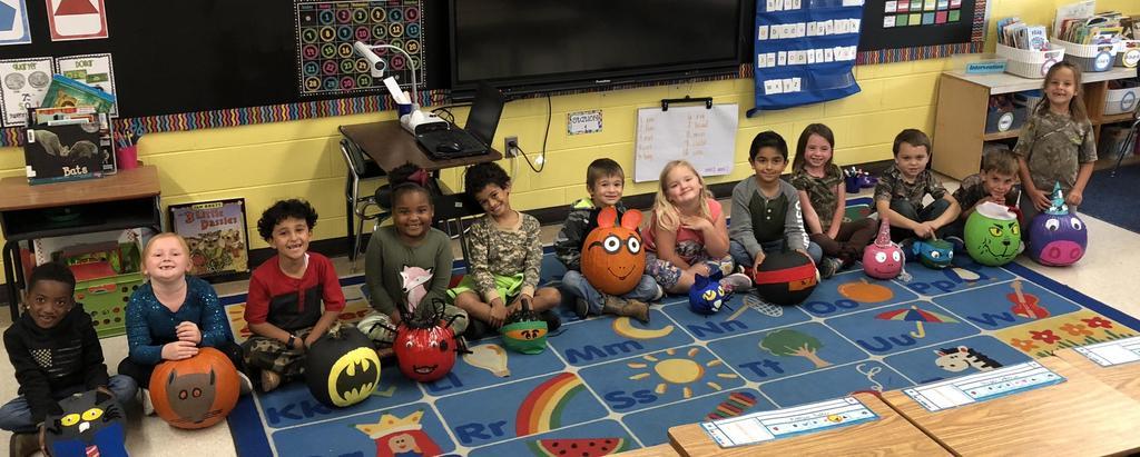 class with pumpkins