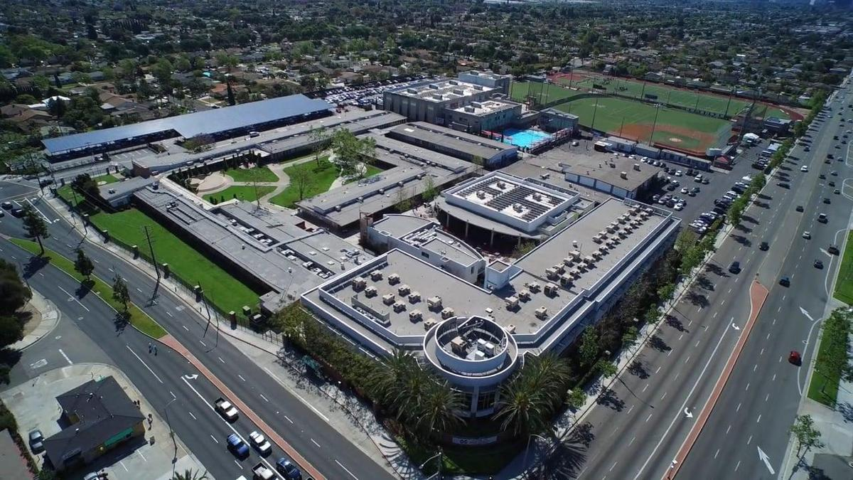 aerial shot of school
