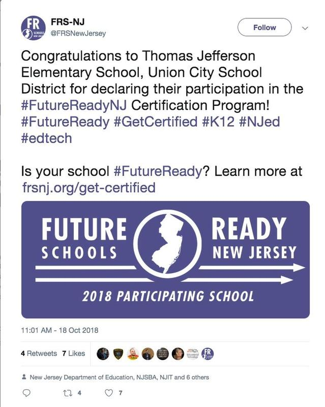 future ready school announcement of certification for Jefferson school