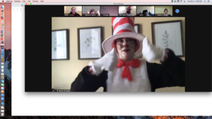 Cat in the Hat giving two thumbs up on zoom