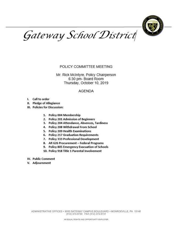 Policy Meeting Agenda