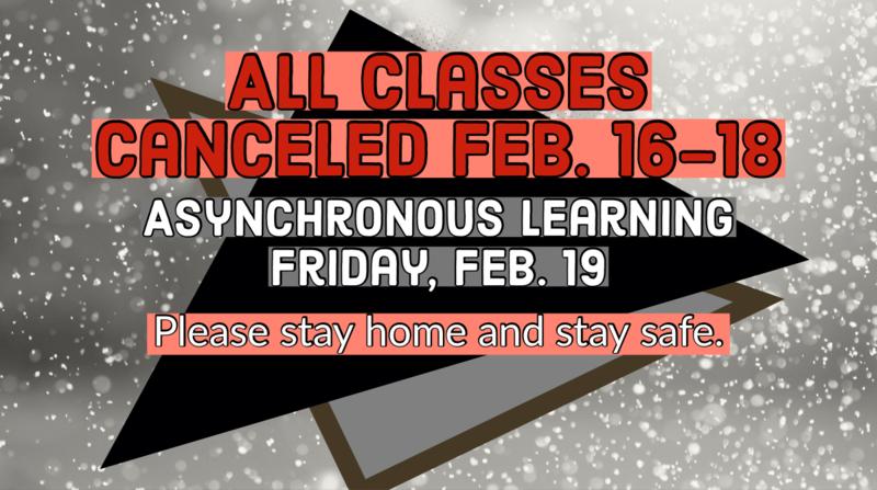 No classes Feb. 16-18