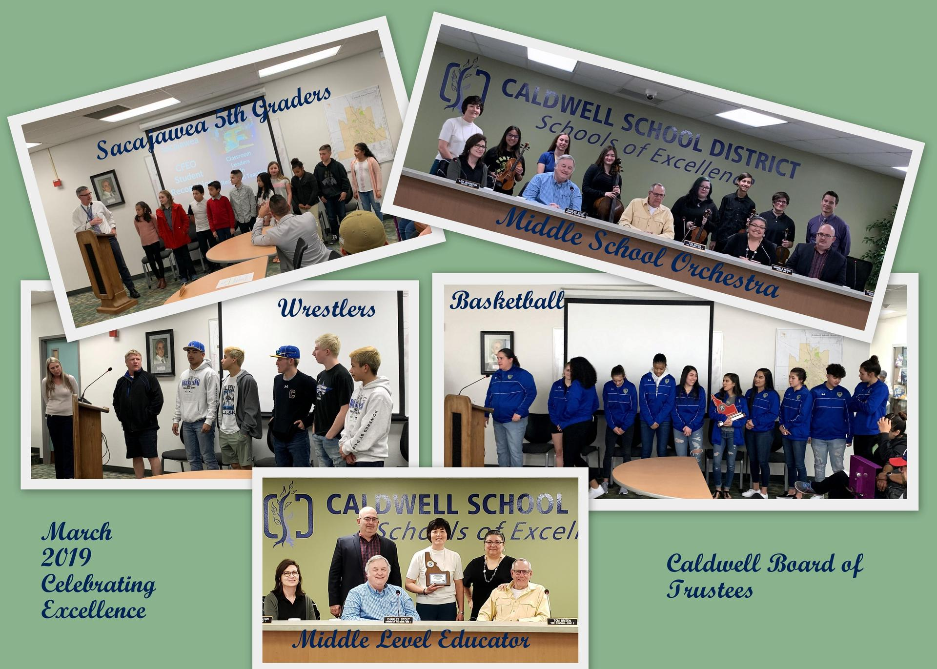 five photos of students and staff honored by the board