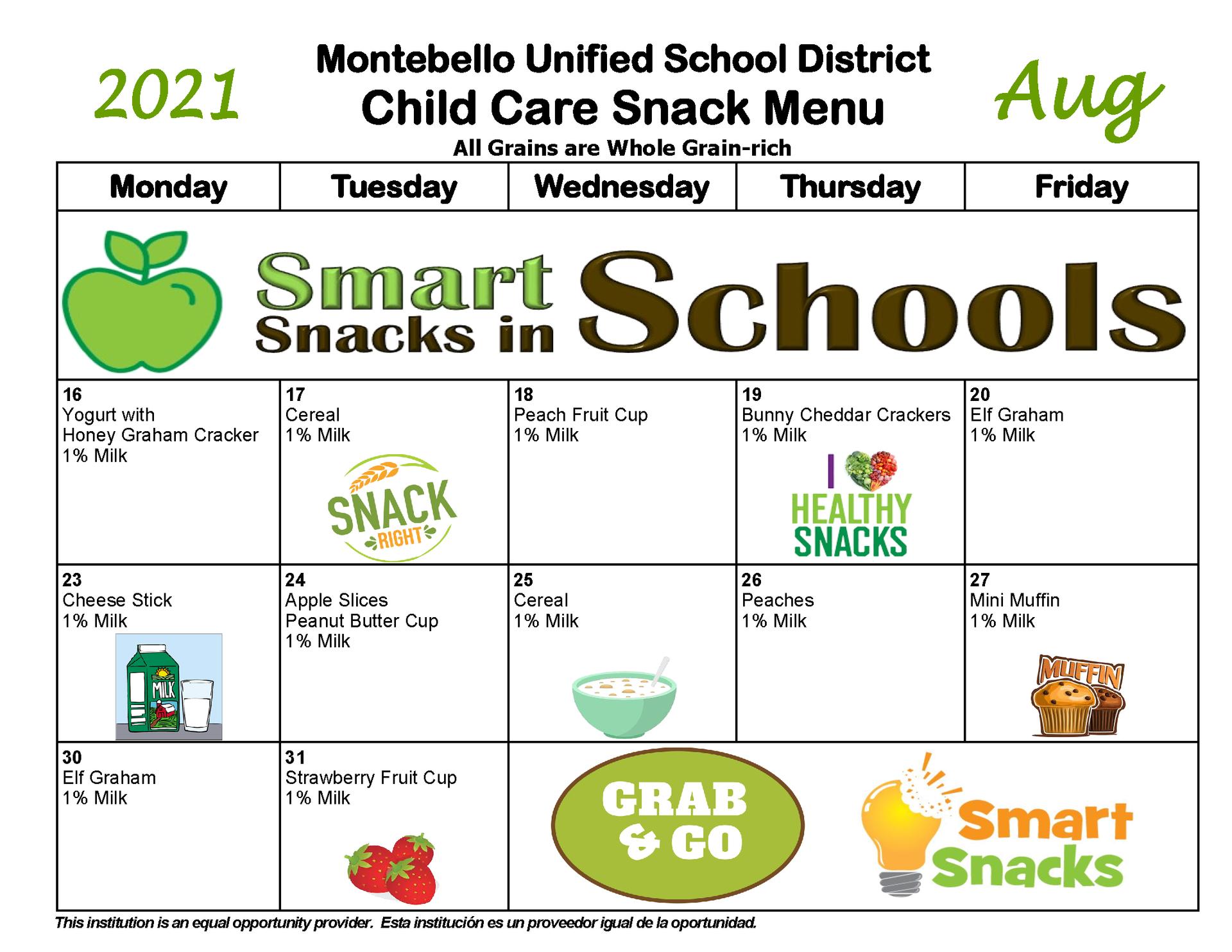 August Child Care Snack Menu
