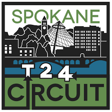 An outline of Spokane's downtown with the letter T the number 2 and the number 4 representing the technical schools, 2 year schools, and 4 year schools