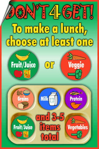 Don't forget to make a lunch choose at least one fruit or vegetable and three to five items total