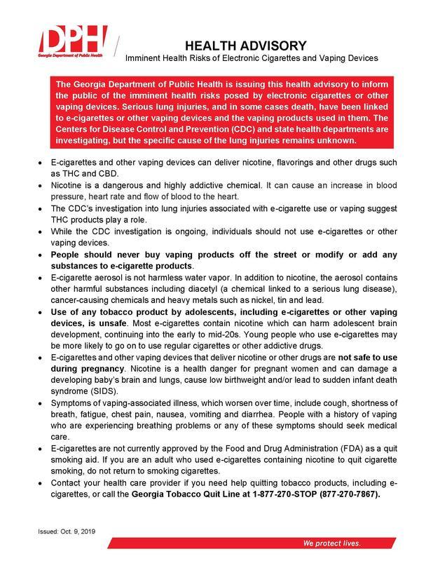 DPH Info on Vaping