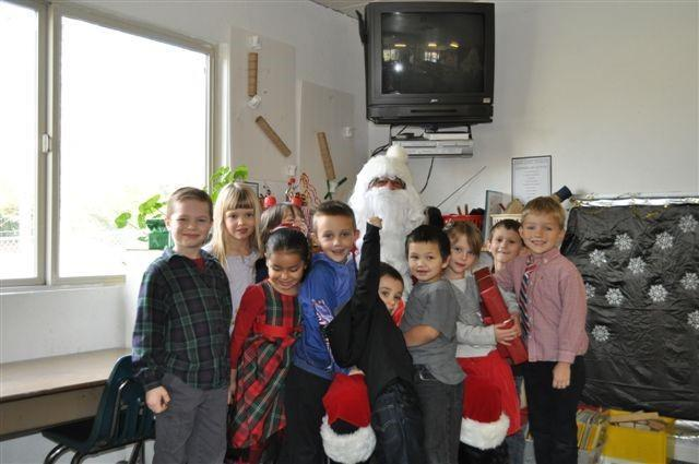 group shot of children and santa