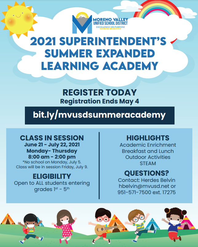 2021 Superintendent's Summer Expanded Learning Academy Flyer