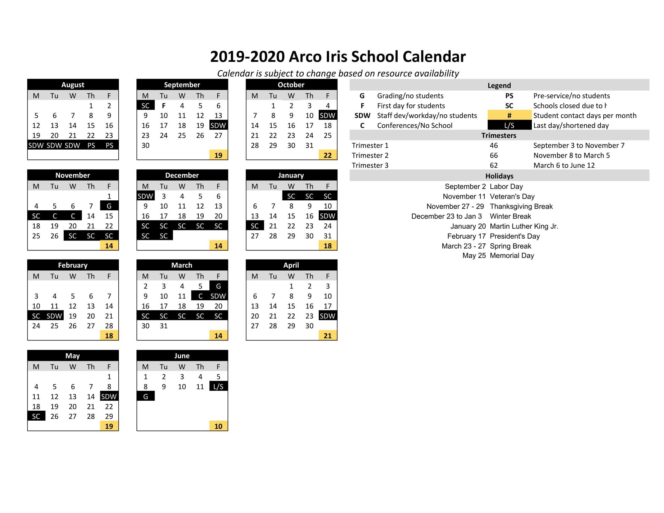Portland State University Calendar.Calendar Miscellaneous Arco Iris Spanish Immersion School