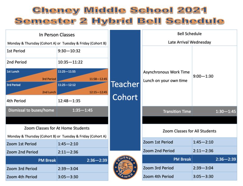 2020-2021 Second Semester Hybrid Bell Schedule Thumbnail Image