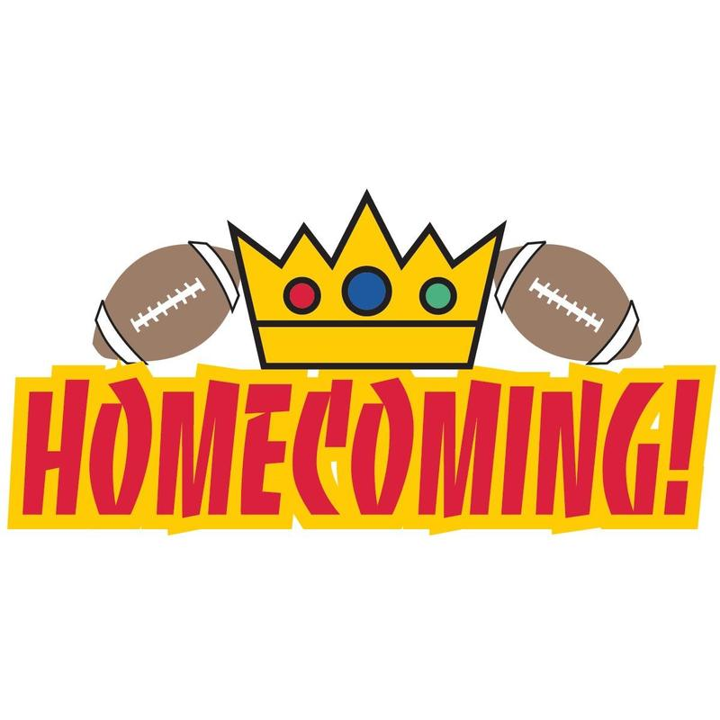 Homecoming clip art with crown and two footballs