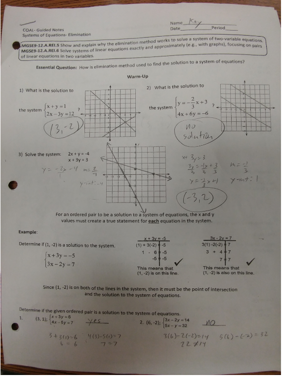 Graphing Systems Of Equations Guided Notes - Tessshebaylo