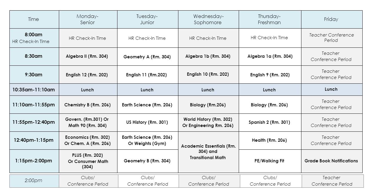 Q3 class schedule