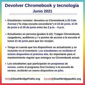Graphic in Spanish with instructions for returning Chromebooks.  All wording in the graphic is also in the body of the post.