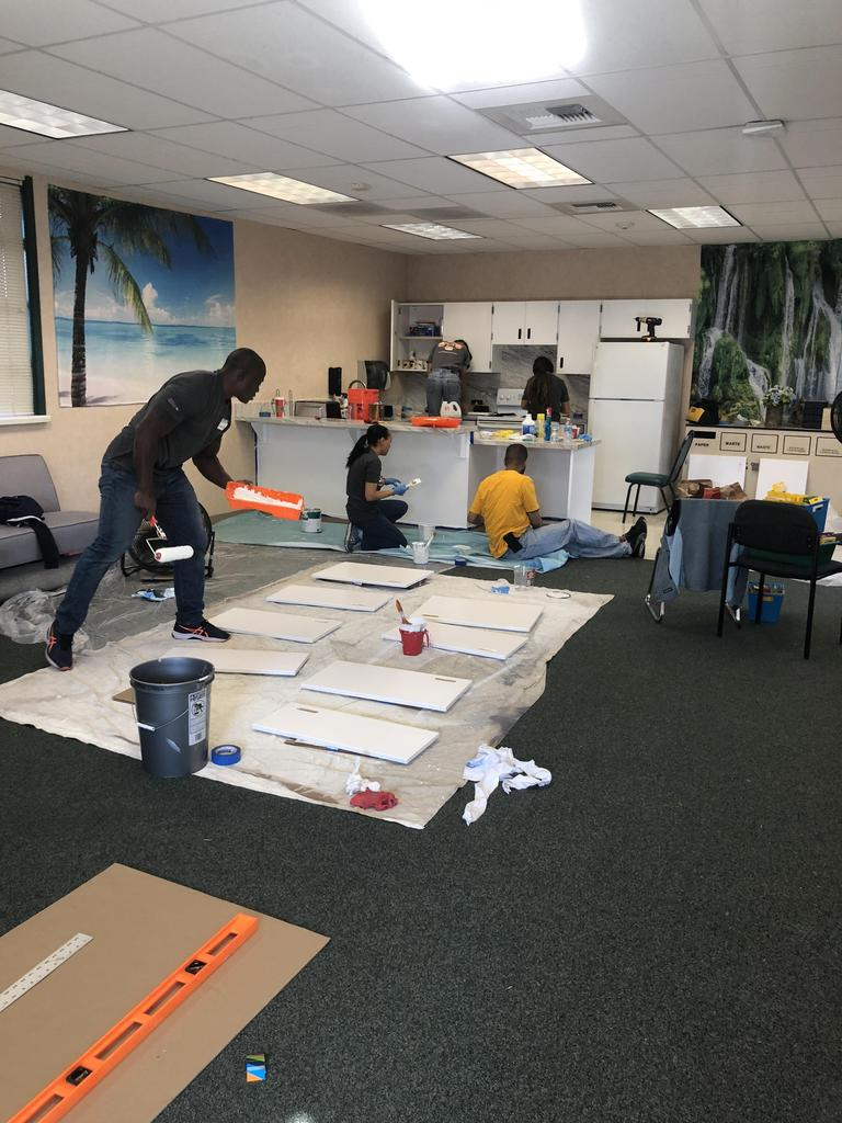 NBCC members paint cabinetry