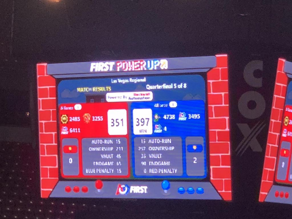 Quarterfinal 2/2 match score, 397-351, we won, moving on to semifinals