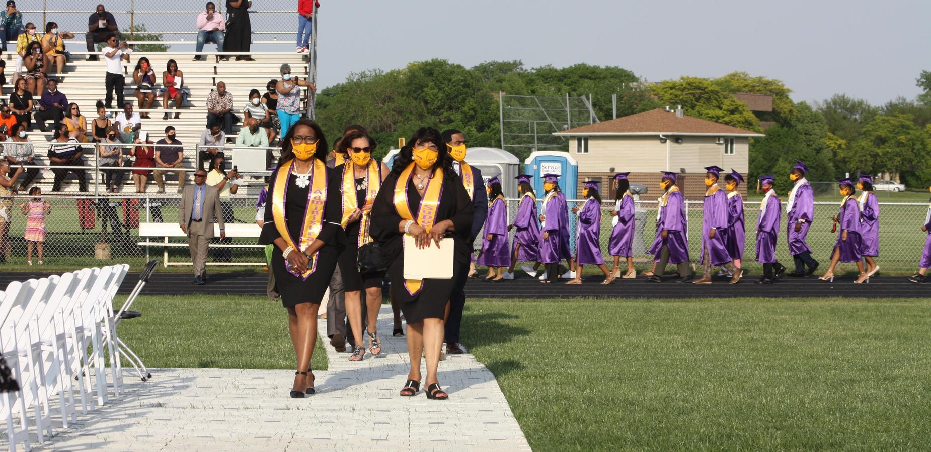 Graduation 2021 Administration, BOE and students marching in