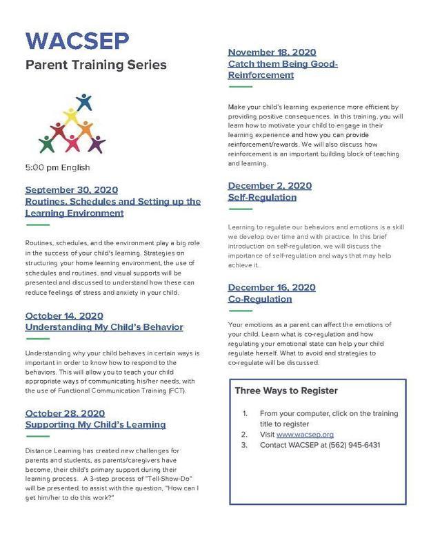 WACSEP Parent Training Series