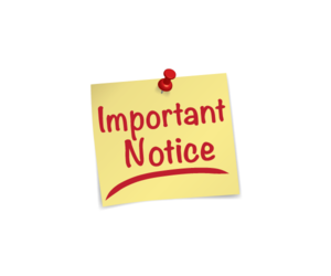 sticky note labeled important notice
