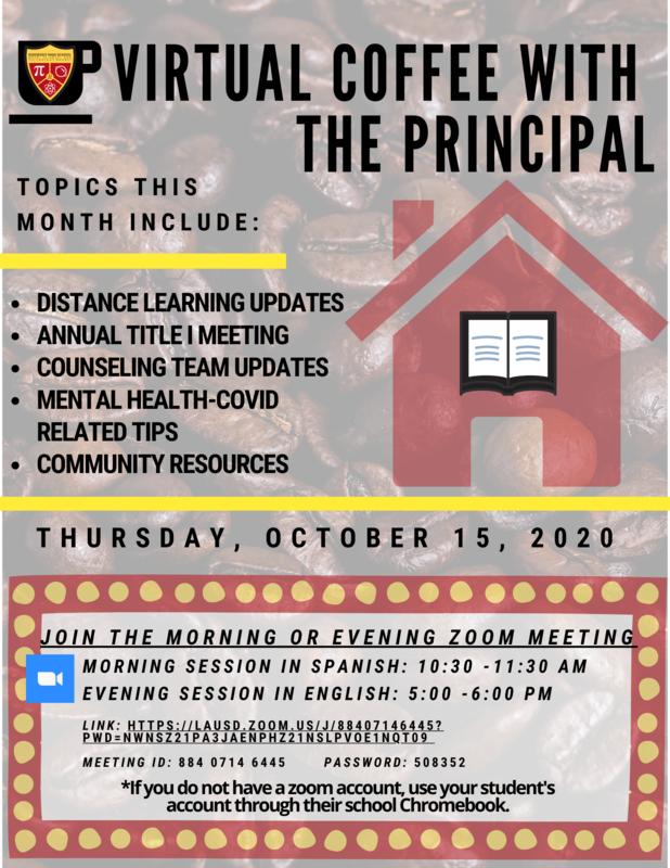 Virtual Coffee with the Principal and Annual Title 1 Meeting, October 15 Featured Photo