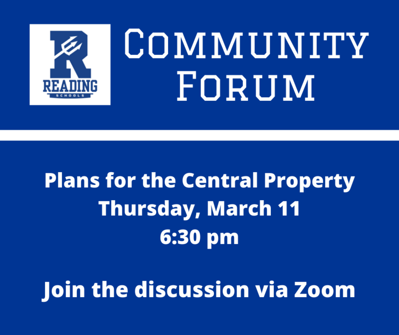 community forum plans for the central property, Thursday March 11 at 6:30 pm
