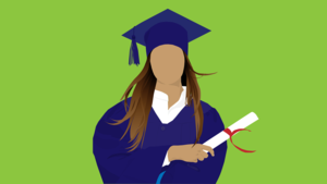 Drawing of a female graduate holding a rolled-up diploma
