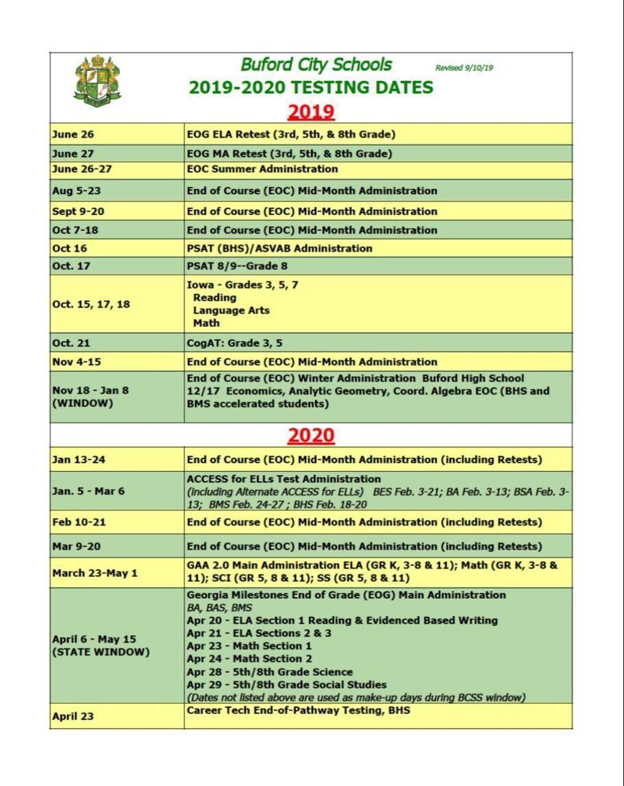 BCSS Testing Dates