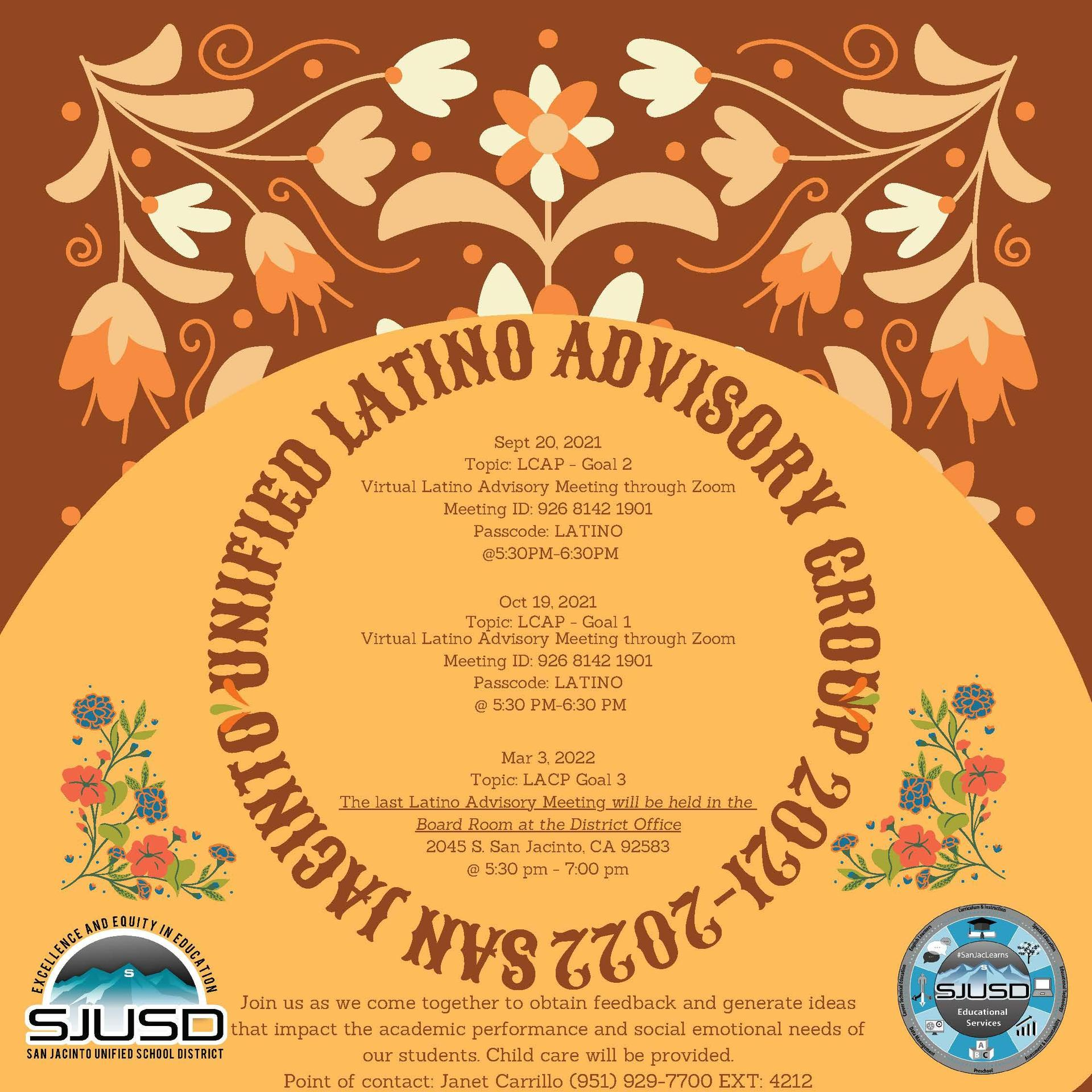 Flyer for Latino Advisory Group meetings for 2021-22