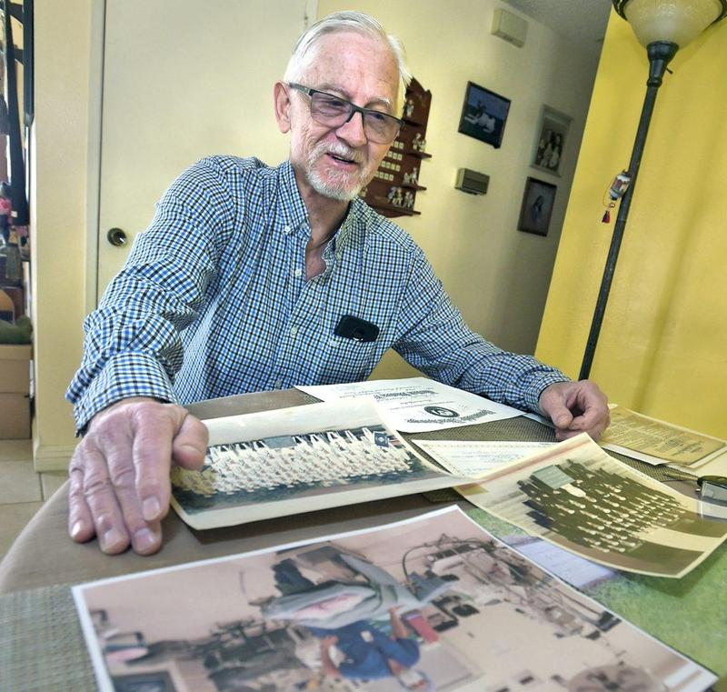 Vietnam veteran, Navy corpsman, Jan Wakelin displays photos of his military days at his Castaic home on February 18, 2020. Dan Watson/The Signal