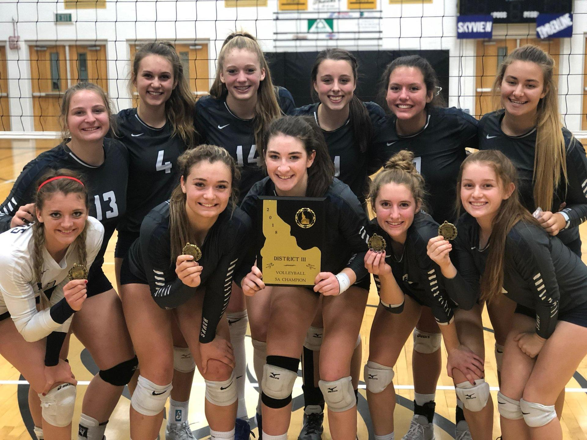 Skyview volleyball team poses with district plaque.